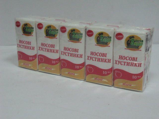Бумажные носовые платочки Супер Торба персик, 10 шт\пач
