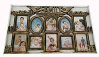 Фоторамка коллаж на 10 фото с надписью Family (белый, темный коричневый)