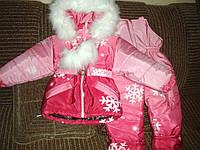 Дитячий зимовий комбінезон для дівчаток зростання 80/86, 86/92, 92/98 см, 98/104 см і 104/110 см, фото 1
