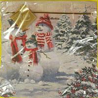 Салфетка декоративная с рисунком Luxy  Семья снеговиков