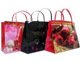 """Пакет полиэтиленовый с пластиковой ручкой №26"""" (27х20+10) ассорти цветы, 12 шт\пач"""