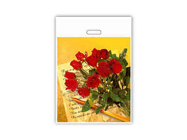 """Пакет с вырубной усиленной ручкой, (42*50+3)""""Розы """" ХВГ (25 шт)"""