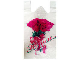 Пакеты майка с рисунком цветная (тип FA)(30+2х8)х55 Роза, 100 шт\уп