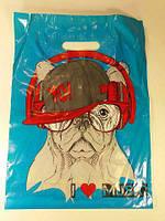 Пакет поліетиленовий подарунковий маленький з вирубний ручкою (30*40) Собака Леомі (50 шт)