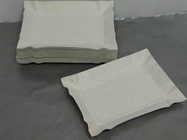 Тарелка одноразовая прямоугольная бумажная 130х190х0,3 Ровно, 100шт\пач