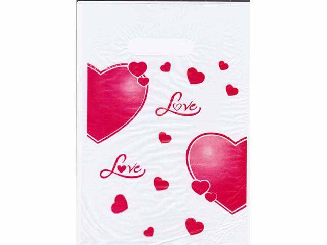 """Пакет полиэтиленовый подарочный маленький с вырубной ручкой  (20*30) """"Сердечки любовь """" ХВГ (100 шт)"""