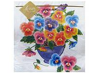 Салфетка декоративная с рисунком (ЗЗхЗЗ, 20шт) Luxy  Фиалки в вазе (313) (1 пач)
