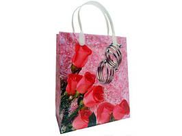 """Пакет с пластиковой ручкой 26х23+10 см, №4 """"Розы на розовом"""", 12 шт/пач"""