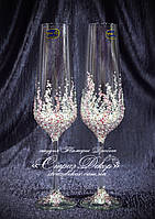 Свадебные бокалы в стразах светло-розовых и хрустальных прозрачных (Сандра)