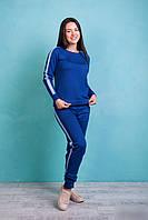 Модный трикотажный женский спортивный костюм с лампасами ярко-синего цвета, фото 1