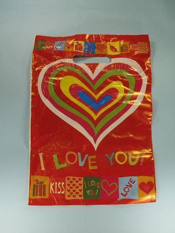"""Пакет полиэтиленовый подарочный маленький с вырубной ручкой (25*35) """"Разноцветное сердце"""" Леоми (50 шт)"""