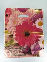 """Подарунковий Пакет """" Банан з прорізною ручкою (30*37+3) Квіти """"Рожева верба"""" Леомі (50 шт)"""
