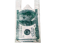 "Полиэтиленовые пакеты майка с рисунком прочные,  ""Доллар"" (27*+2х6х50), 100 шт\пач"