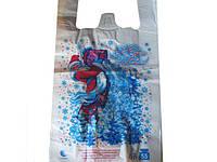 Пакет целлофановый майка с рисунком тип FA 30*55 HГ Дед Мороз, 100 шт\уп