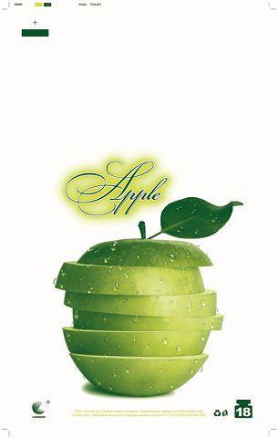 """Пакеты майка с рисунком (29*47) Комсерв  """"Зеленое яблоко"""" (250 шт)"""