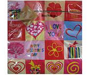 Салфетки сервировочные свадебные (ЗЗхЗЗ, 20шт) Luxy  Я тебя люблю (300) (1 пач)