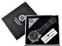 USB зажигалка + часы в подарочной упаковке (Спираль накаливания; кварц) (4 вида)