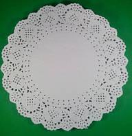 Ажурная бумажная салфетка белая,  диаметр 26,7см, 100шт\пач