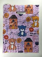 Пакеты с прорубной ручкой с нанесением логотипа (30*40) Медвежонок, 50шт\пач