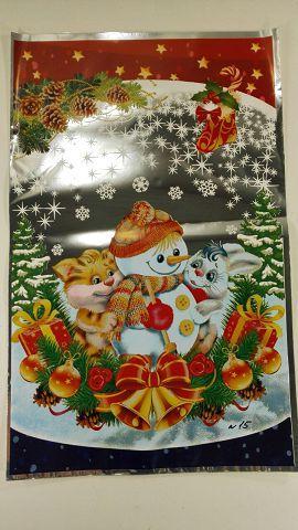 Новогодний мешок для конфет, (25*40) №15 Снеговик и звярятки, 100 шт\пач