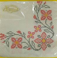Салфетка для декупажа (ЗЗхЗЗ, 20шт)  La Fleur  Вышитые цветы (118) (1 пач)