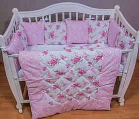 Розкішний комплект в ліжечко для дівчинки, ковдру,захист, постільна