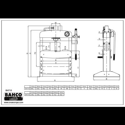Пресс гидравлический 15т, BAHCO, BH715, фото 2