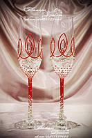 Свадебные бокалы с красным декором в стразах Сваровски (Флейта)
