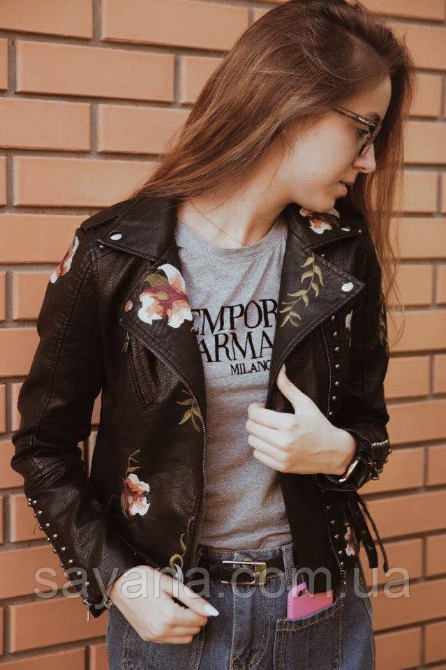 Женская модная косуха с цветочным принтом. БР-8-0820