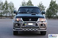 Передняя защита кенгурятник, ус  Mitsubishi Pajero Sport 1996-2008