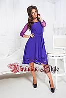 Красивое однотонное короткое платье с перфорациией. Цвета!