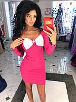 """Облегающее мини-платье """"Jaffa"""" с длинным рукавом и бантом на груди (2 цвета)"""