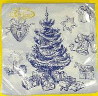 Бумажные салфетки с новогодней тематикой (ЗЗхЗЗ, 20шт)  La FleurНГ Новогодний рисунок (133) (1 пач)