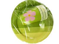 """Набор детская одноразовая посуда для праздника №4/23 """"Зеленая"""", на 6 персон"""