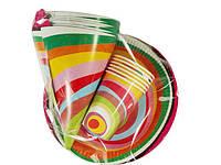 """Комплект одноразовой бумажной посуды для детей №2/23 """"Веселая!"""" , на 6 персон"""