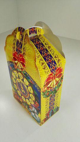 """Новогодняя картонная коробка для конфет, """"Новогодние часы"""", 700 грамм (25 шт)"""