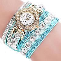 Женские часы-браслет со стразами Persian green