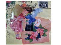 Салфетки бумажные трехслойные банкетные (ЗЗхЗЗ, 20шт) Luxy  Письмо любви (100) (1 пач)