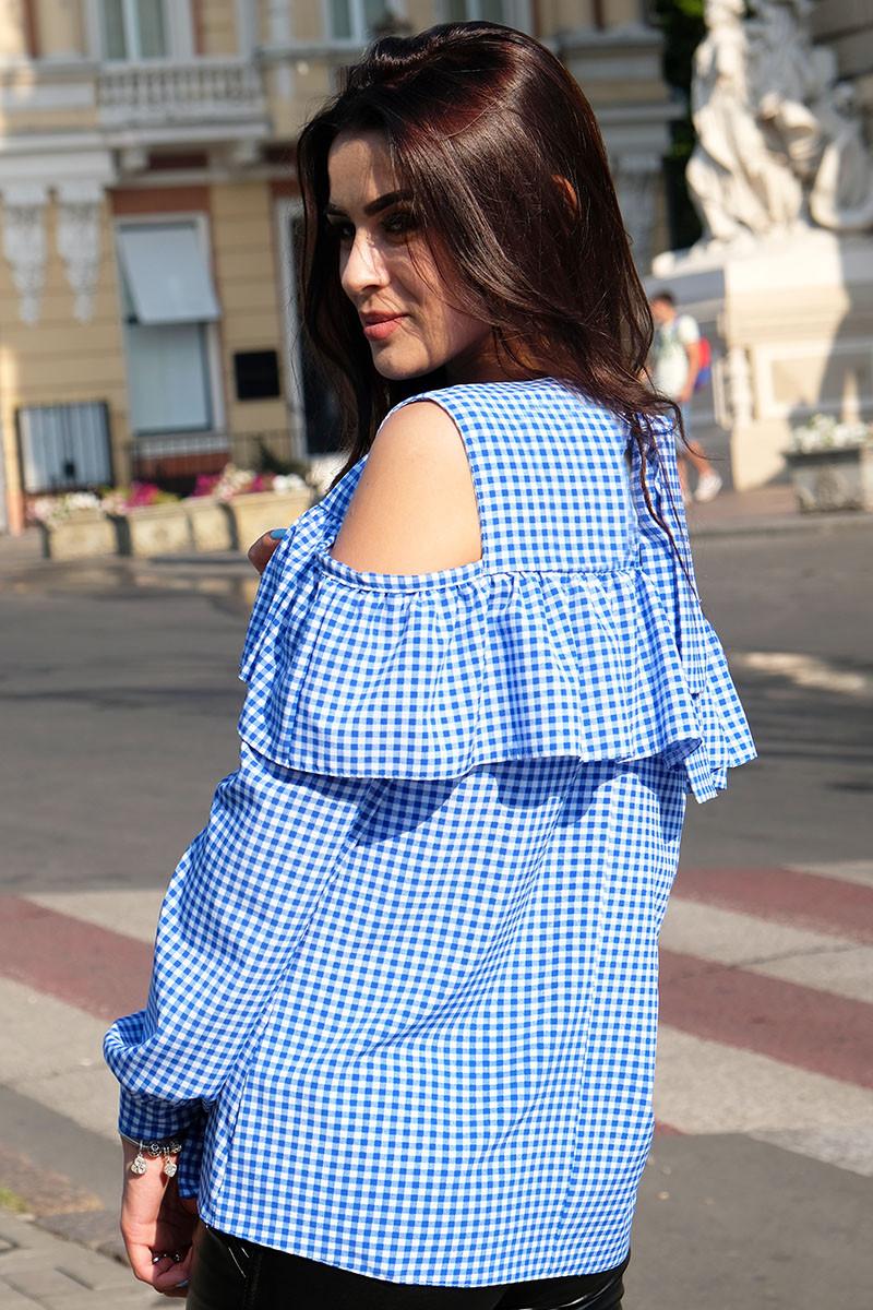 """Женская блузка в клетку """"Диамант"""", голубой"""