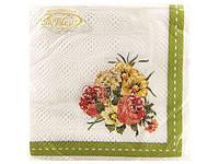 Салфетка бумажная декоративная (ЗЗхЗЗ, 20шт)  La Fleur  Цветочное разнообразие (054) (1 пач)