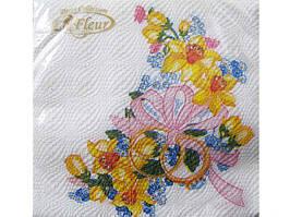 Салфетки свадебные (ЗЗхЗЗ, 20шт) La Fleur  Счастливое начало (052) (1 пач)