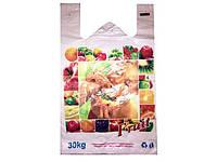 Пакет Майка (30+2х8)х50) Девушка с фруктами, 250 шт\пач