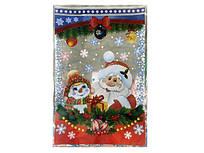 Пакет для новорічних подарунків і цукерок, (20*30) №28 Дід Мороз і Сніговик, 100 шт\пач