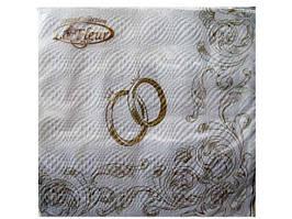 Салфетки столовые (ЗЗхЗЗ, 20шт) La Fleur  Свадебные кольца     (101) (1 пач)