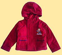 Курточка детская демисезонная красная с капюшоном, микровельвет, р.80