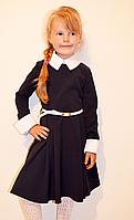 Стильное школьное платье для девочки с воротничком и манжетами