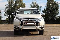 Защита переднего бампера (кенгурятник)  Mitsubishi Pajero Sport  (16+)