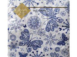 Салфетки бумажные детские праздничные для сервировки (ЗЗхЗЗ) Luxy  Бабочки, 20шт\пач