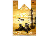 Пакеты майка с рисунком (32+2х8)х50) Тигр Кривой Рог (250 шт)