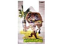 Полиэтиленовые пакеты майка с рисунком (30+2х8)х50) Мадагаскар, 250 шт\пач